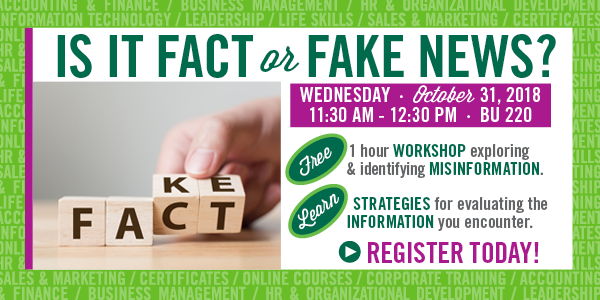 Is it Fact or Fake News? Find out on October 31, 2018