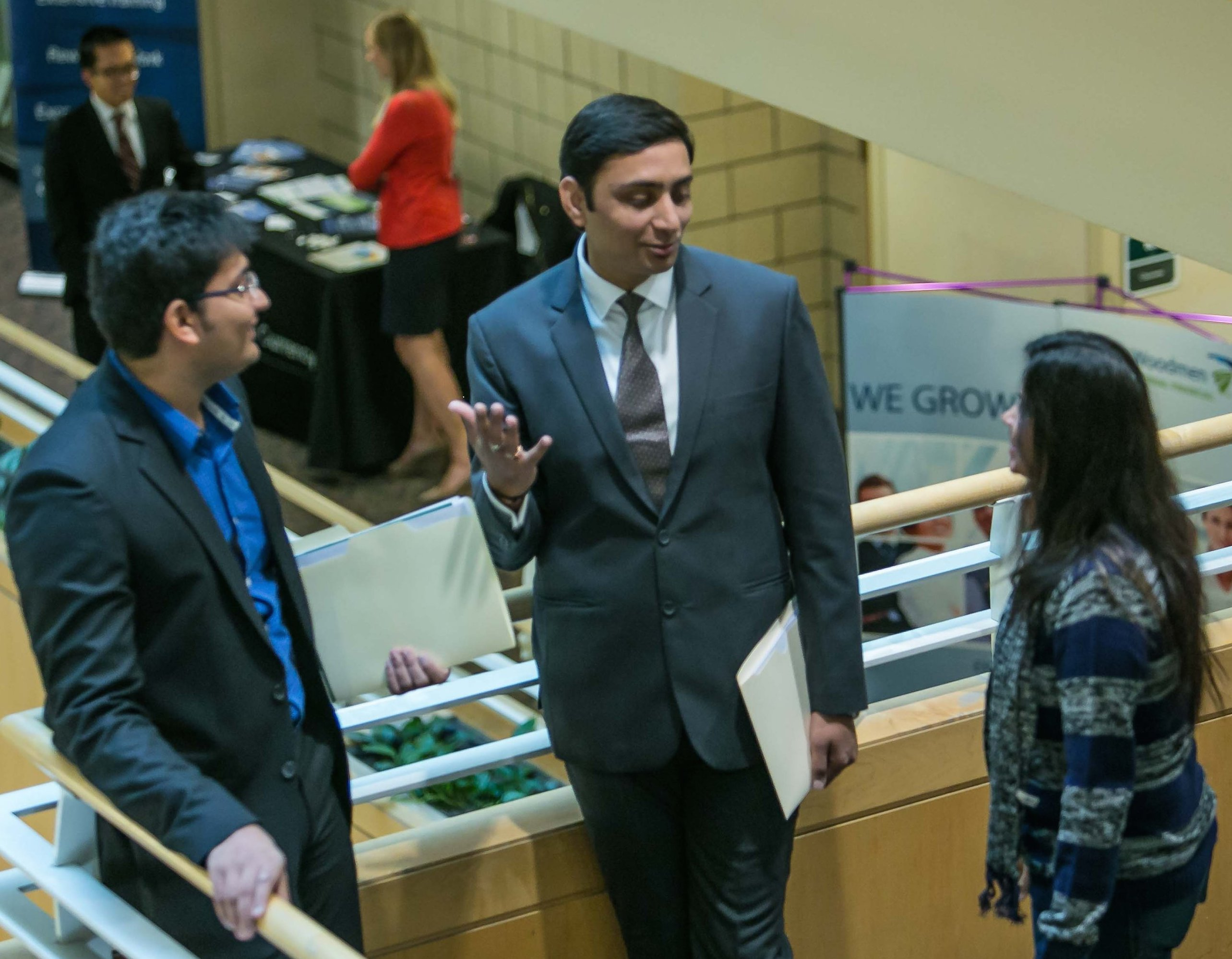 Students on stairwell at Biz Internship Co-op Expo 2016