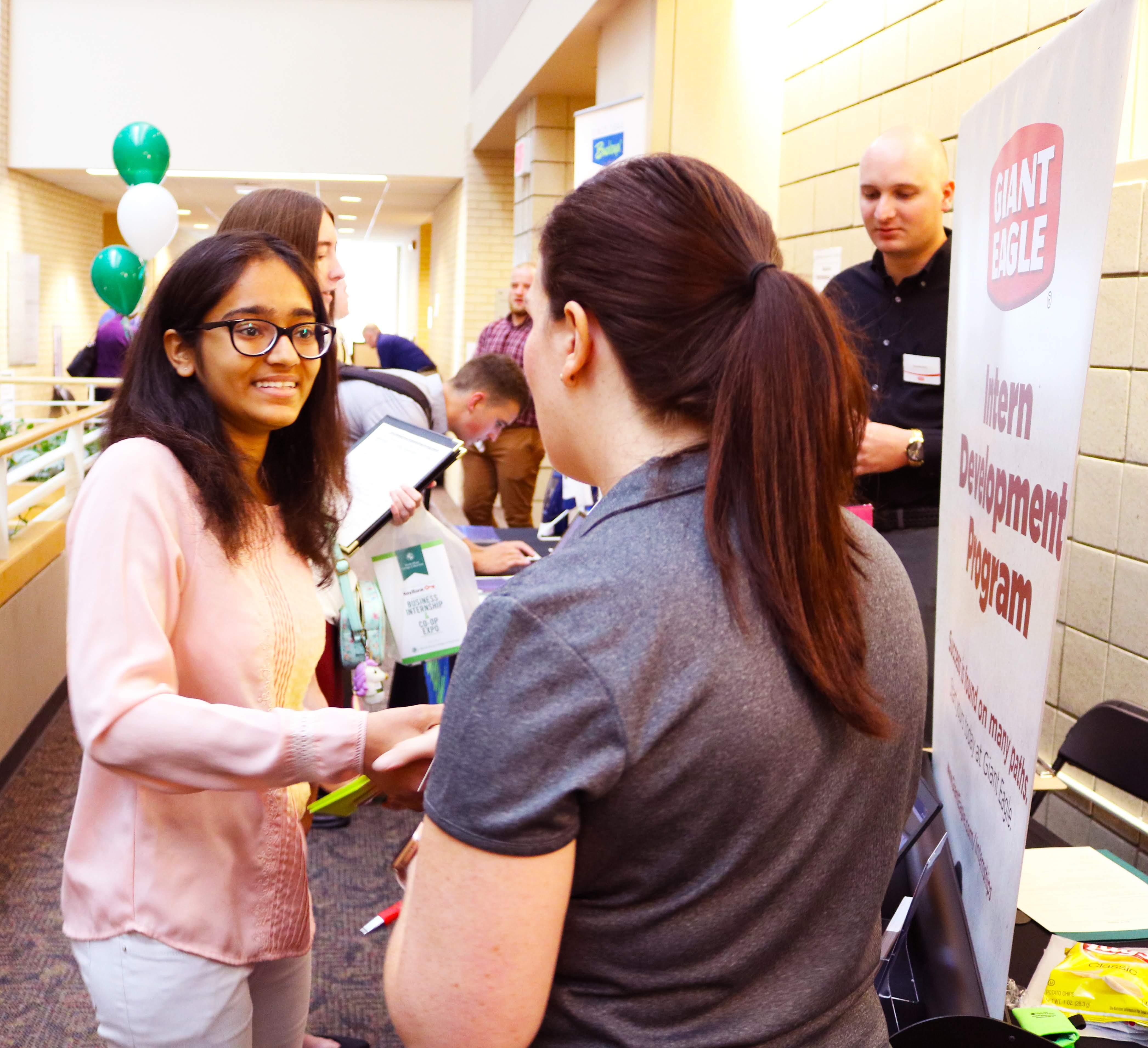 Business Student at Internship/Career Fair in Ahuja Hall - 2018