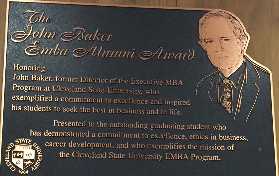 John Baker Award Honoring Executive MBA students